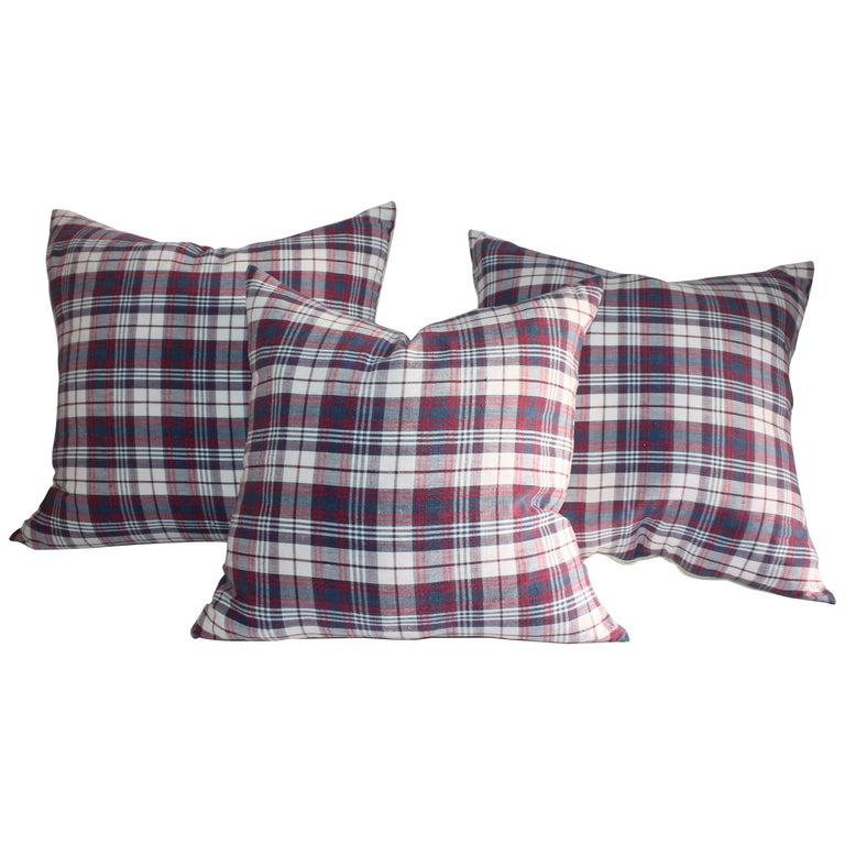 19th Century Plaid Linen Ticking Pillows For Sale