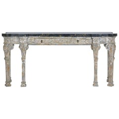 Grand Neoclassical-Style Silver Leaf Console Table