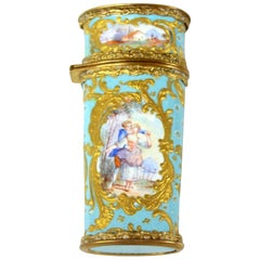 "Extraordinary ""Sevres-style"" Antique English Gilt Enamel Etui or Necessaire"