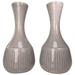 Gunnar Nylund for Rorstrand Swedish Modern Gray Striped Vases, 1950s