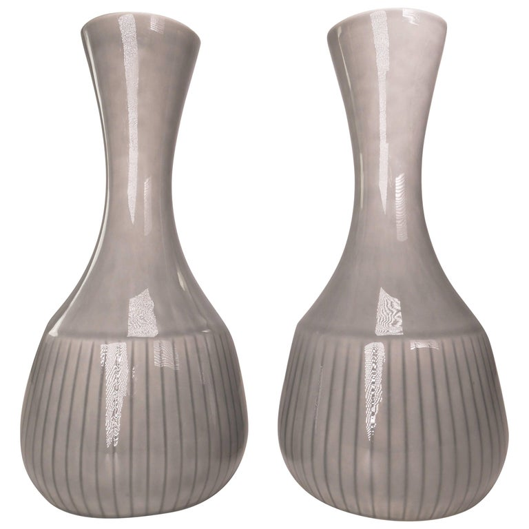 Gunnar Nylund for Rorstrand Swedish Modern Gray Striped Vases, 1950s For Sale
