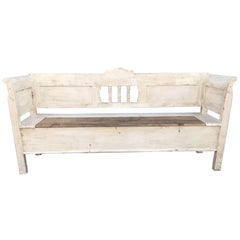French Antique Vintage Bench Seat Settle Painted