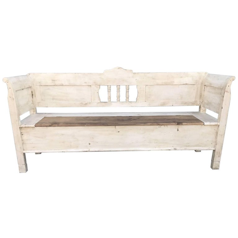 French Antique Vintage Bench Seat Settle Painted For Sale At 1stdibs