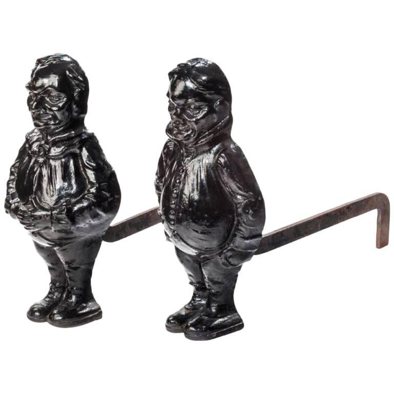 Pair of Cast Iron Andirons
