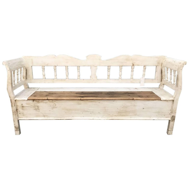 French Antique Vintage Bench/Seat Painted Settle at 1stdibs