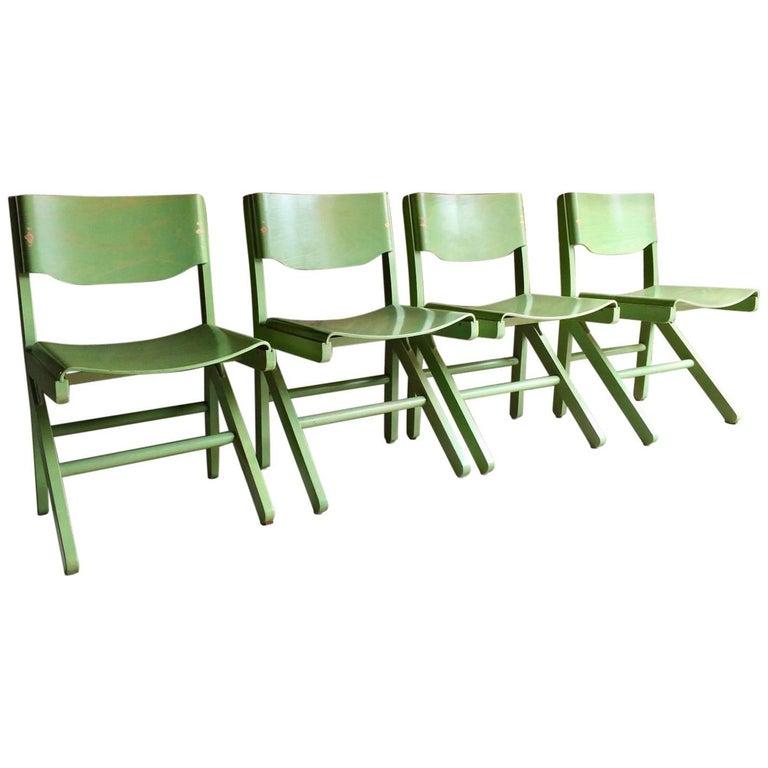Joamin Baumann Dining Chairs for Baumann French Set of Four Green, 1960s