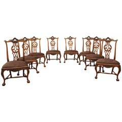 Set of Eight Portuguese Walnut Chippendale Influenced 18th Century Chairs