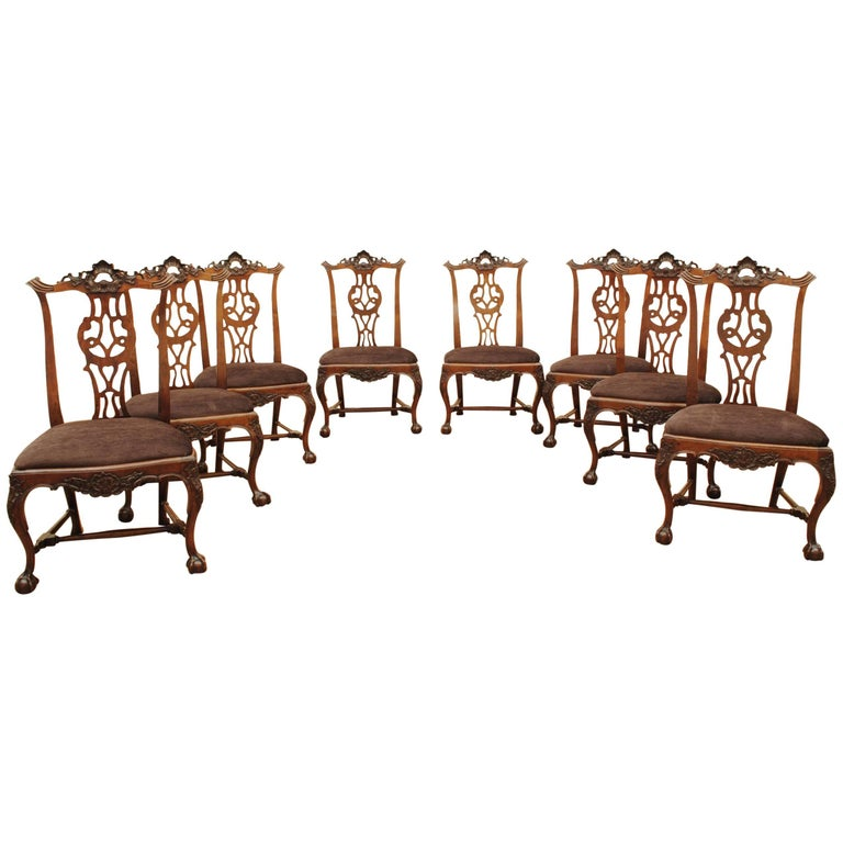 Set of Eight Portuguese Walnut Chippendale Influenced 18th Century Chairs For Sale