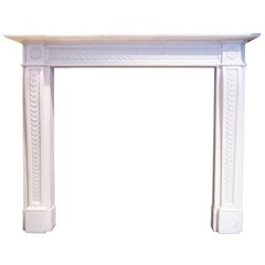 Reproduction Statuary white carved Georgian Style Marble fireplace