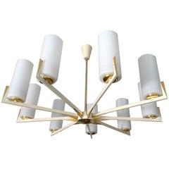 Large Sunburst Brass Glass Chandelier, 1950s  Stilnovo Style Pendant Lamp