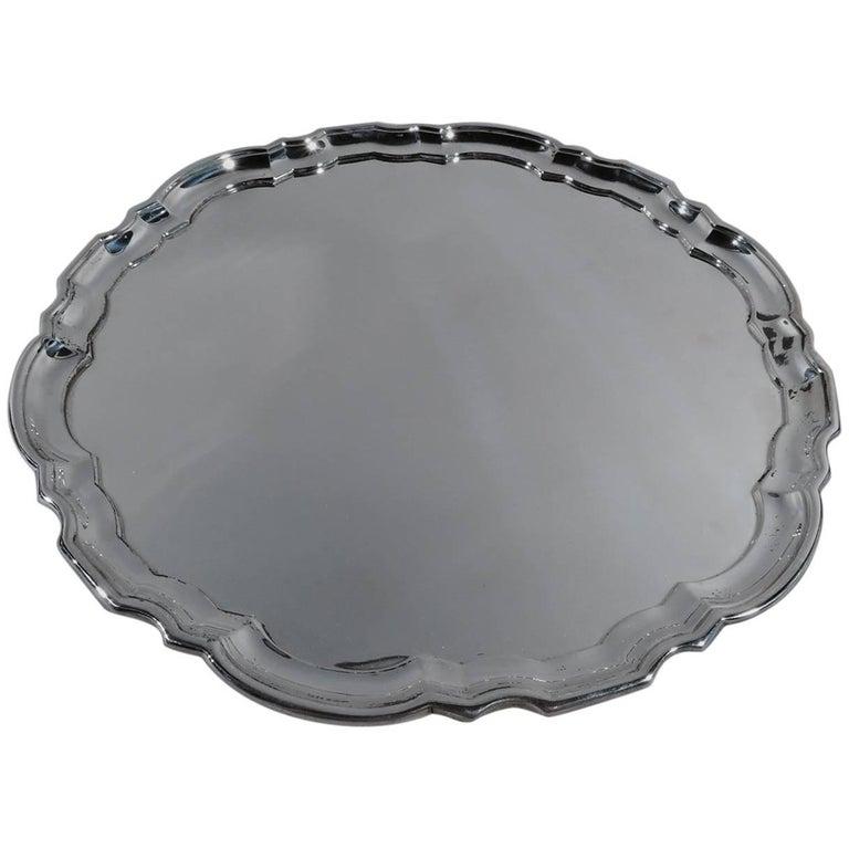 Tiffany Sterling Silver Tray with Georgian Piecrust Rim