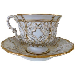 Early 20th Century Meissen Porcelain Heavy Gold Trim Embossed Cup and Saucer