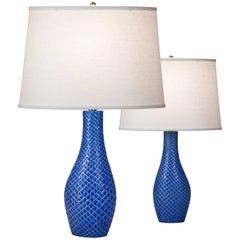Stig Lindberg Pair of Swedish Blue Glazed Reptil Ceramic Lamps