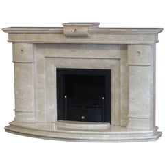 21st Century Polished Curved Marble Fireplace with Black Trim and Fire Basket