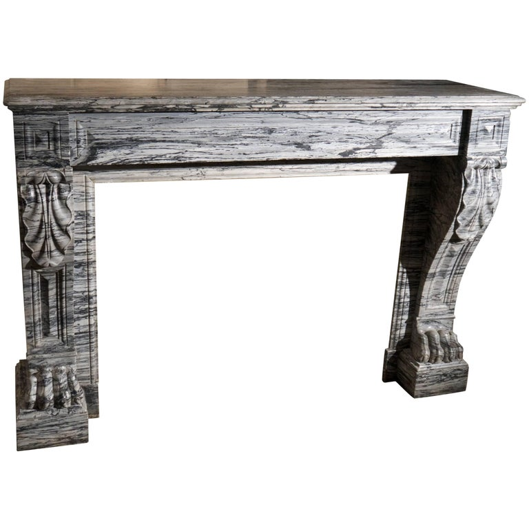 19th Century unusual Bleu Fleuri marble antique French fireplace For Sale