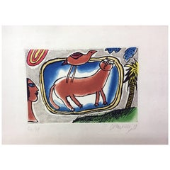 Signed, Numbered and Dated Limited Edition Colored Lithograph by Corneille