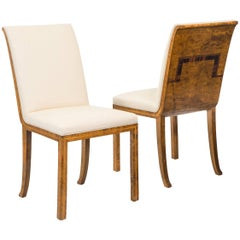 Pair of Swedish Grace Period Birch and Rosewood Chairs