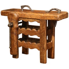 19th Century Rustic French Carpenter Press Table with Wine Bottles Storage Rack