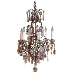 Bronze Rock and Clear Crystal Nine-Light Chandelier