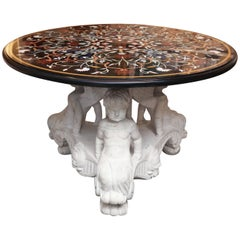 Pietra Dura Marble-Top Center Table Supported by White Carved Marble Angel Base