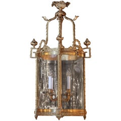 French Bronze Doré Lantern Style Chandelier, Four Lights with Beveled Glass