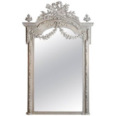 19th Century Louis XVI Style Grey Painted Mirror with Torch and Quiver Crest