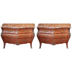 Pair of French Style Bomb'e Shaped Commodes with Marble Tops