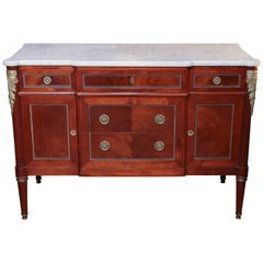 French Louis XVI Style Cabinet, Mahogany with White Marble Top, 19th Century
