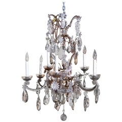 French Bronze and Crystal Chandelier with Rock, Smoke and Amethyst Crystals