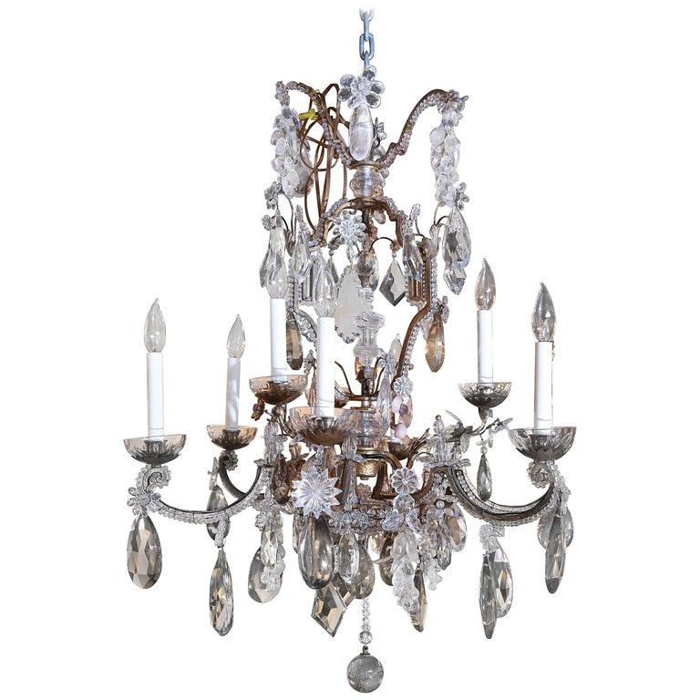 French Bronze and Crystal Chandelier with Rock, Smoke and Amethyst Crystals For Sale