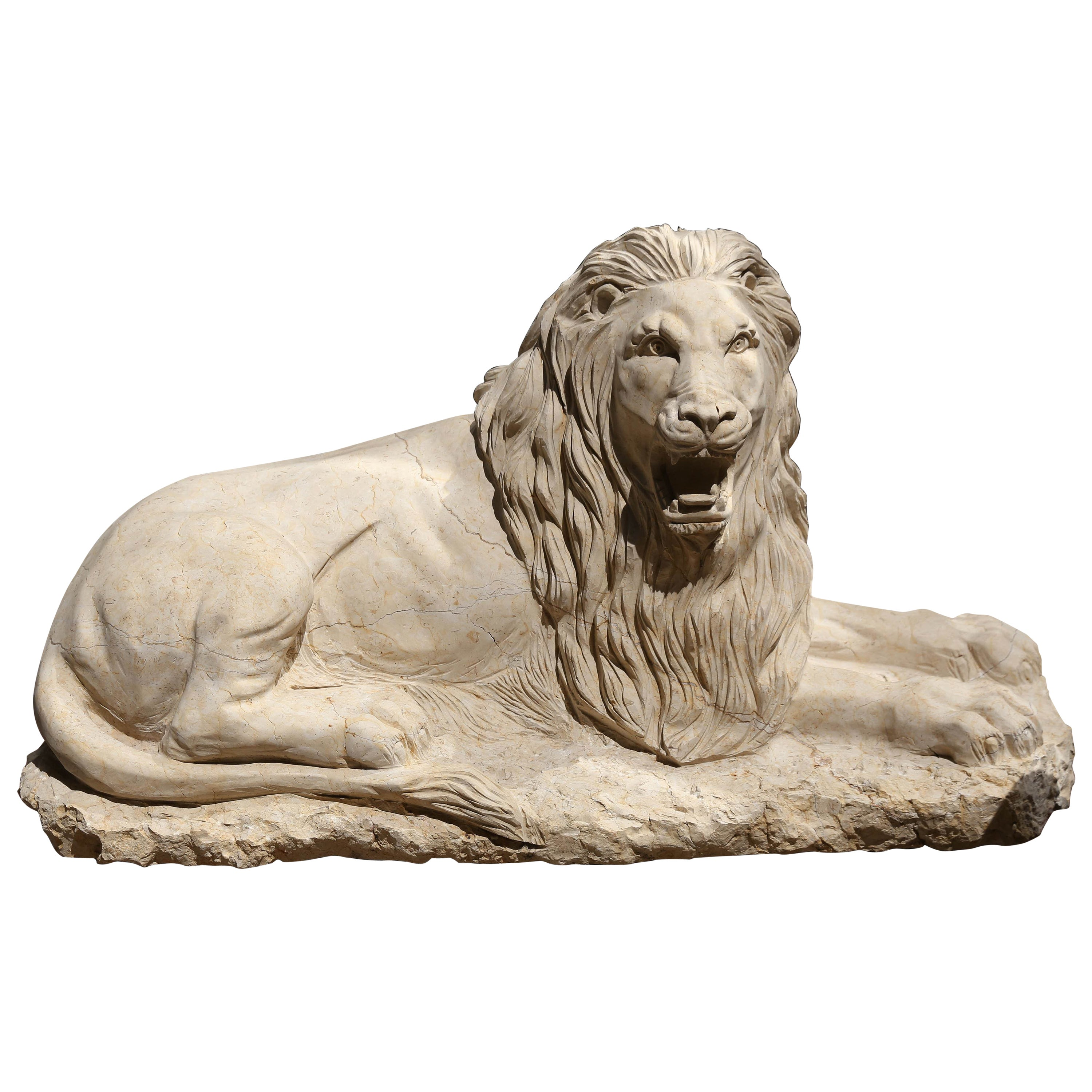 Cream Marble Carved Lion Sculpture