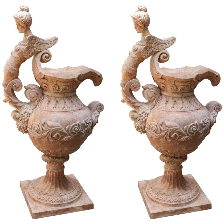 Pair of Neoclassical Style Garden Sculptures in Form of Ewers For Sale
