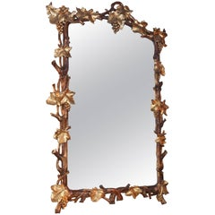 19th Century Gilt Mirror Carved with Grapes and Grape Vine with Faux Bois Style