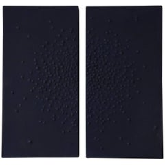 Navy Blue Diptych with Starburst Motif