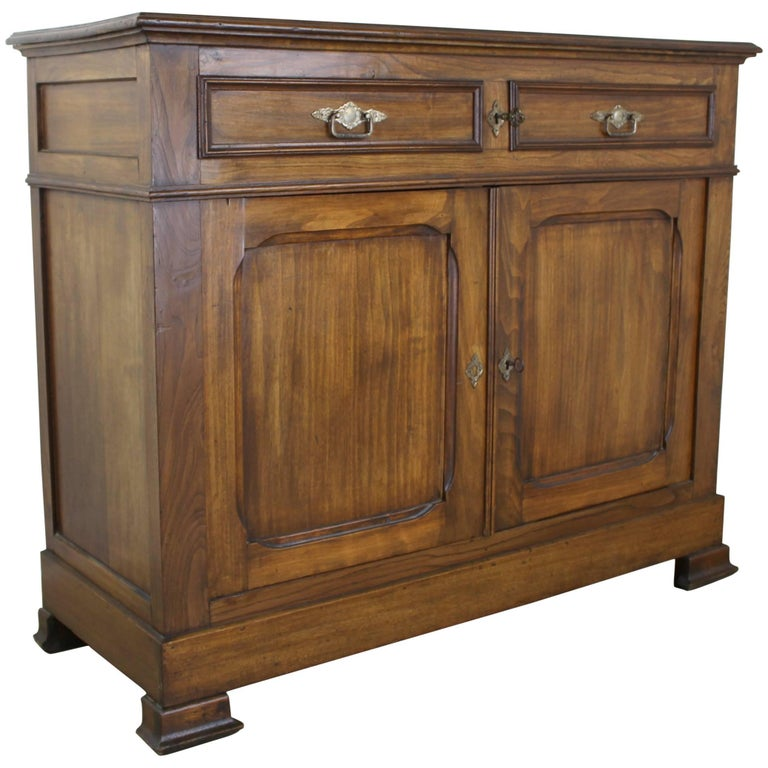 Antique French Two-Door Elm Buffet For Sale