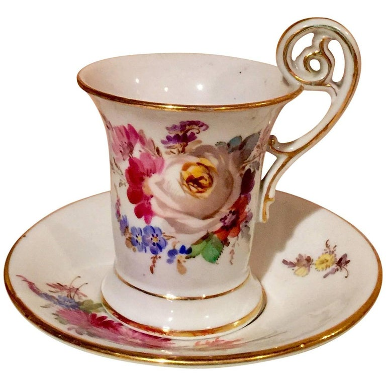 20th Century Meissen Porcelain Demitasse Cup & Saucer For Sale