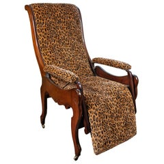 Mahogany Reclining Chair Signed 1850