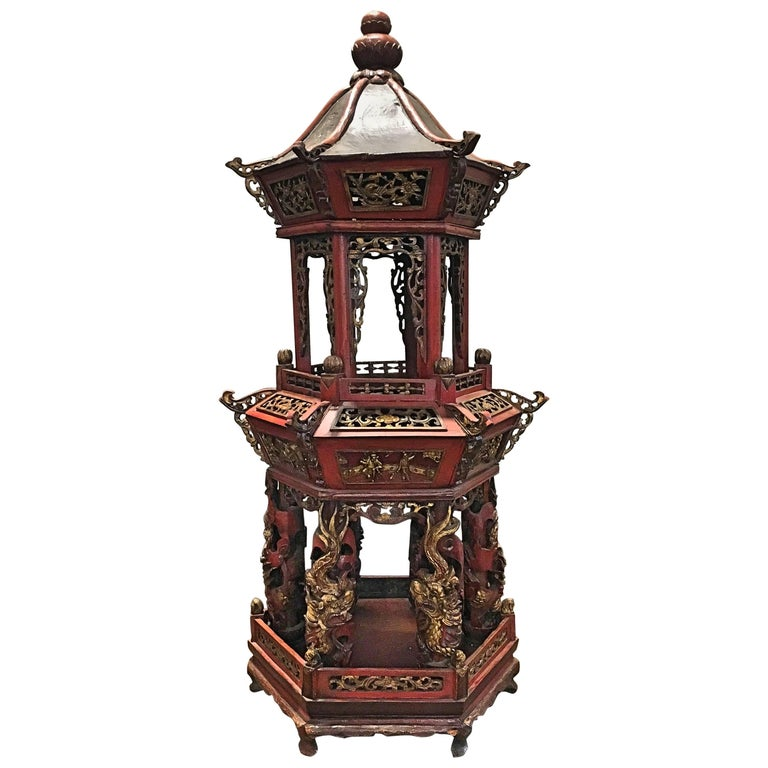 Large Chinese Lacquered and Gilt Wooden Model of a Pagoda or Pavilion For Sale