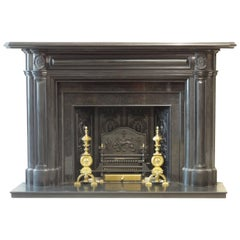 19th Century Victorian Carved Irish Black Marble Fire Surround