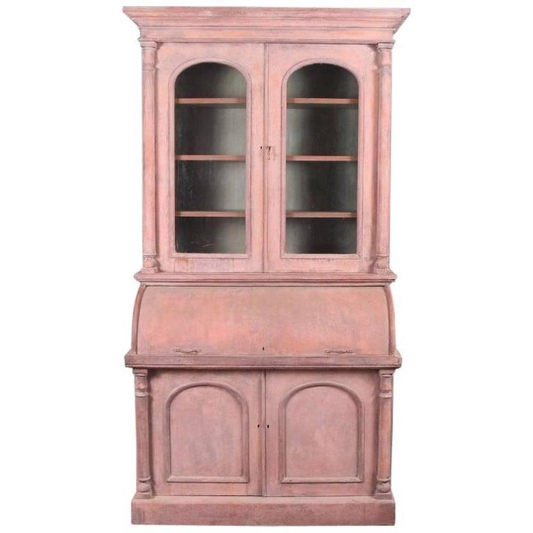 19th Century English Cylinder Bureau Bookcase