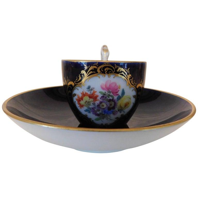 Meissen Porcelain Cobalt Blue and Floral Cup and Saucer For Sale