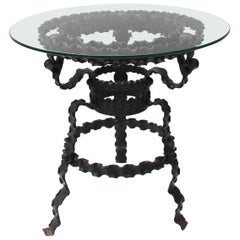 Painted Wrought Iron Ribbon Table