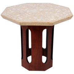 1960's Harvey Probber Terrazzo and Dark Walnut Octagonal Occasional Table