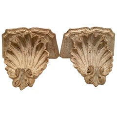 Vintage Pair of Palm Beach Estate Architectural Scallop Shell Corbel Brackets
