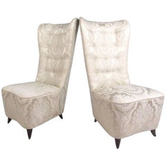 Pair of Italian Modern Slipper Chairs in the Style of Paolo Buffa