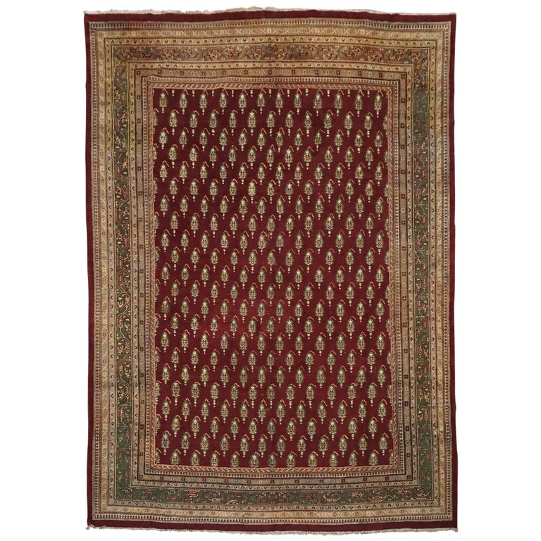 Antique Cotton Agra Rug With Abrash Circa 1900 For Sale: Antique Indian Agra Paisley Rug, Circa 1900 For Sale At