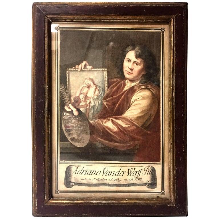 (after) Adriaen Van Der Werff, Self Portrait, ca. 18th Century mezzotint