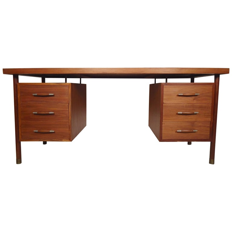 Bowed Front Mid-Century Executive Desk