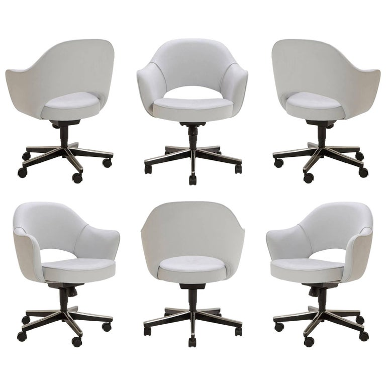 Saarinen Executive Arm Chairs in Fog Luxe Suede, Swivel Base, Set of 6 For Sale