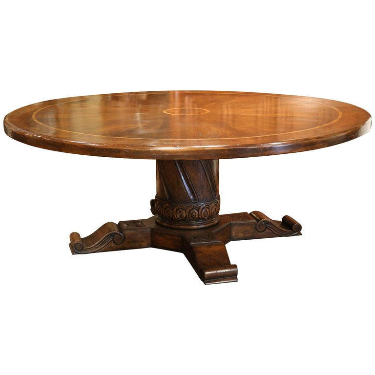 Large round walnut table with carved center pedestal and for Round centre table designs